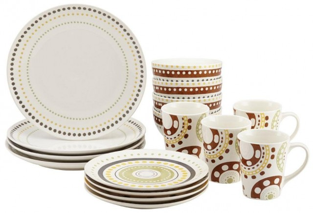 Rachael Ray Circles and Dots 16-Piece Dinnerware Set - Print
