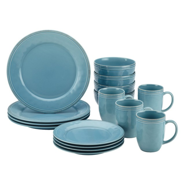 Rachael Ray Cucina 16-Piece Dinnerware Set - Agave Blue