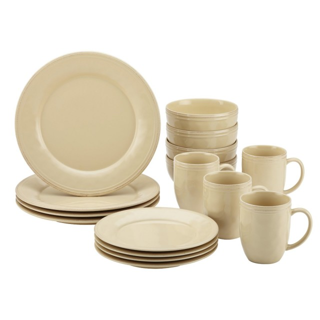 Rachael Ray Cucina 16-Piece Dinnerware Set - Almond Cream