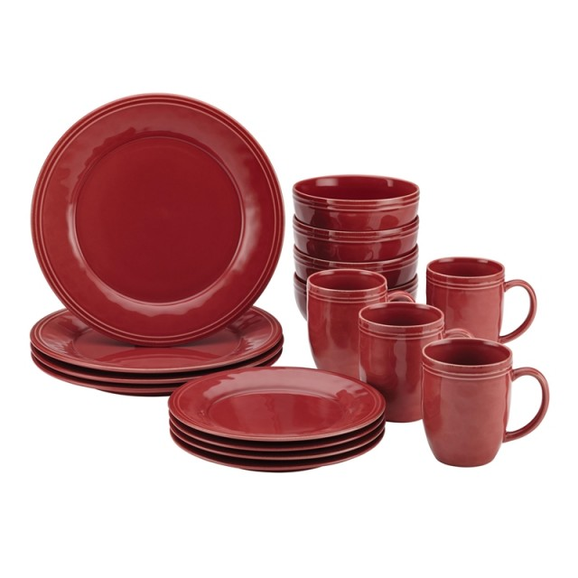 Rachael Ray Cucina 16-Piece Dinnerware Set - Cranberry Red