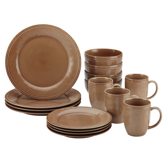 Rachael Ray Cucina 16-Piece Dinnerware Set - Mushroom Brown