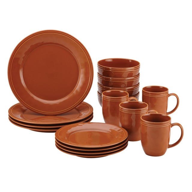 Rachael Ray Cucina 16-Piece Dinnerware Set - Pumpkin Orange