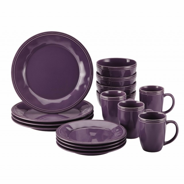 Rachael Ray Cucina Dinnerware 16Pc Stoneware Set - Lavender Purple