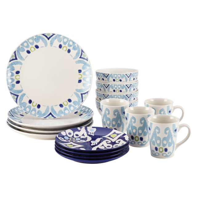 Rachael Ray Ikat 16-Piece Dinnerware Set - Blue