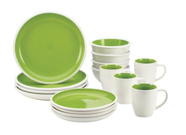 Rachael Ray Rise 16-Piece Dinnerware Set - Green