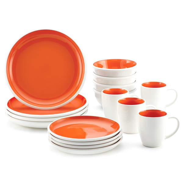 Rachael Ray Rise 16-Piece Dinnerware Set - Orange