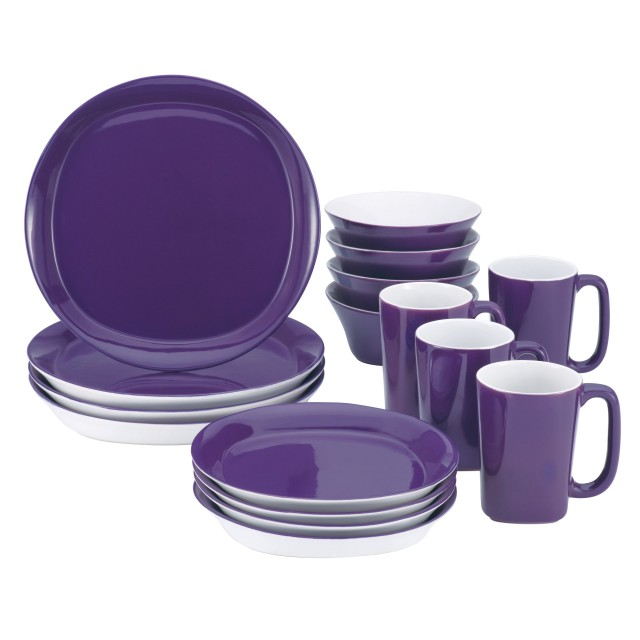 Rachael Ray Round and Square 16-Piece Dinnerware Set - Purple
