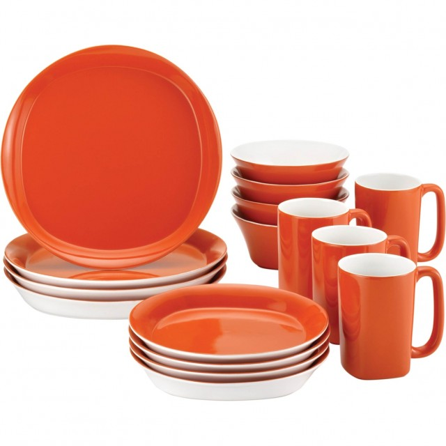 Rachael Ray Round and Square 16-Piece Dinnerware Set - Tangerine
