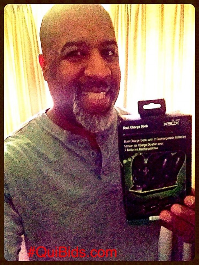 David won this Xbox One Dual Charging dock for $0.17 using only 5 voucher bids! #QuiBidsWin