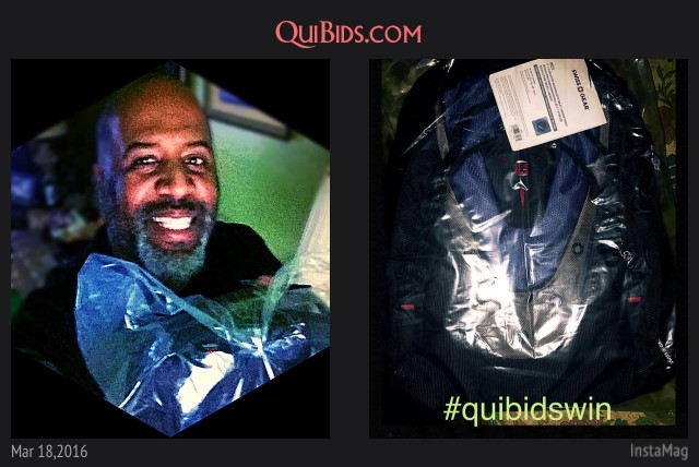 David used 13 voucher bids to win this Swiss Gear backpack for only $0.36! #QuiBidsWin