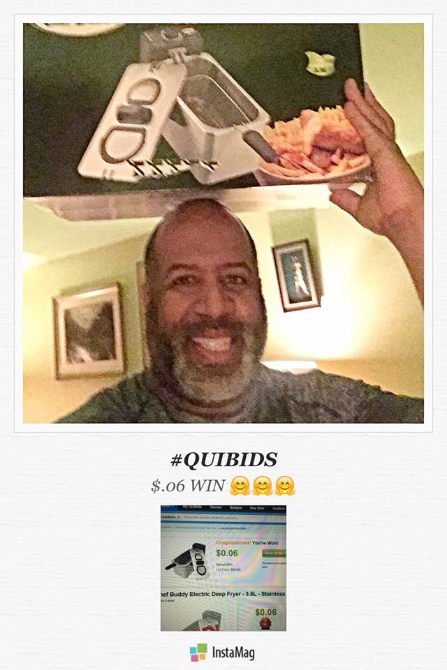David won this deep fryer for $0.06 using only 3 voucher bids! #QuiBidsWin #EpicWin