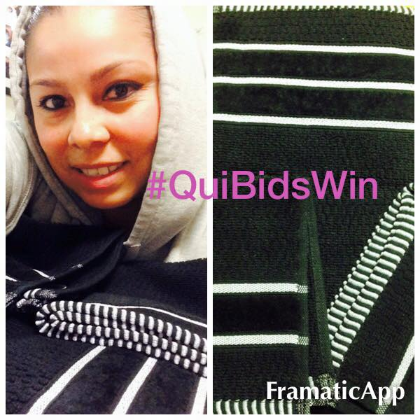 Elgin won this Black Lavish Home 100% Egyptian Cotton towel set for $0.23 using only 2 voucher bids! #QuiBidsWin