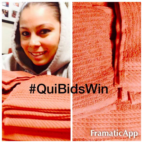 Elgin won this Egyptian Cotton towel set for $0.42 using only 4 voucher bids! #QuiBidsWin