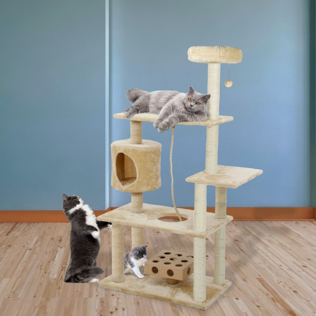 Tiger Tough Cat Deluxe Playground with Cat Iq and Rope - Cream