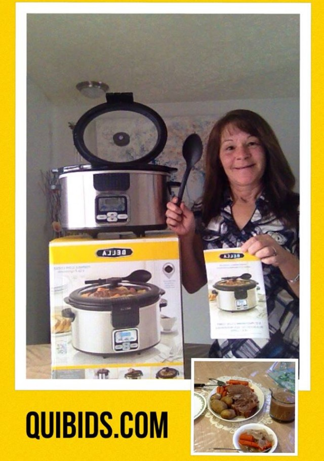 Janise won this slow cooker for $1.33 using only 41 voucher bids! #QuiBidswin
