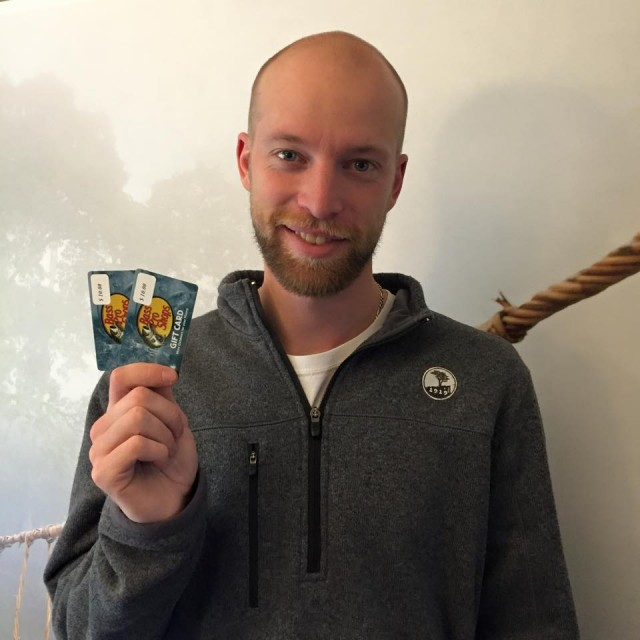 Aaron saved big when he won these gift cards on QuiBids. #QuiBIdsWins