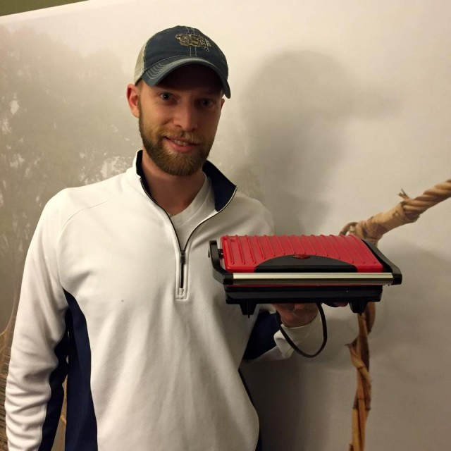 Aaron won this non-stick grill and panini press for $0.21 using only 5 voucher bids! #QuiBidsWin