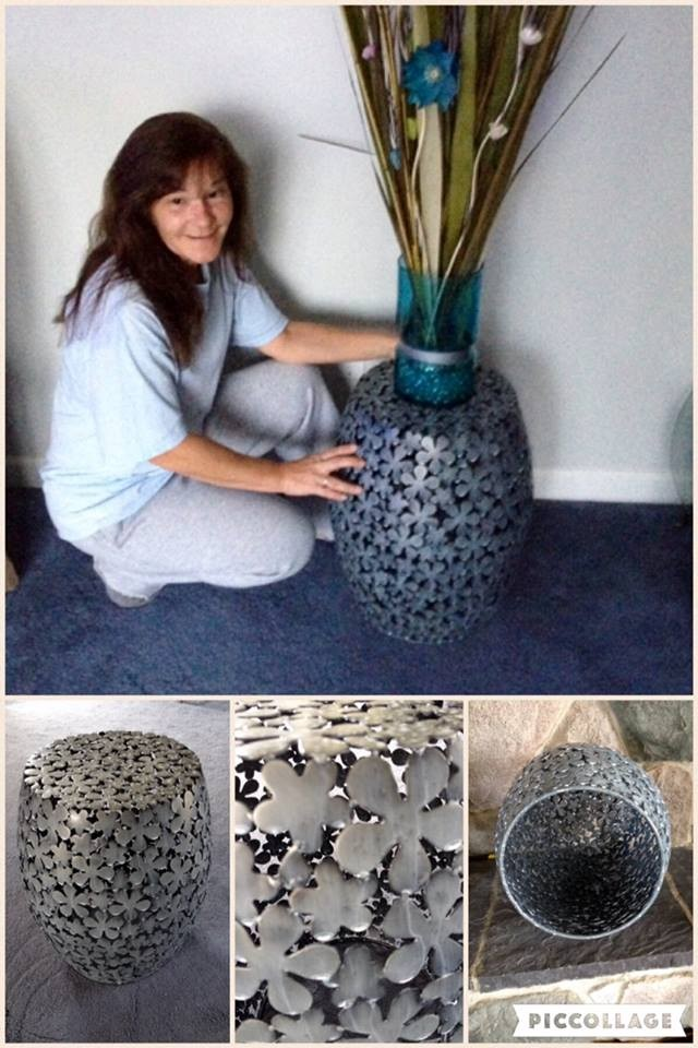 Janise used 11 voucher bids to win this floral pierced stool for just $0.40! #QuiBidsWin
