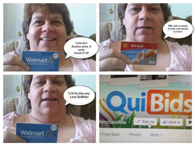 QuiBidder Jodi shows off her gift card wins on QuiBids. #QuiBidsWins