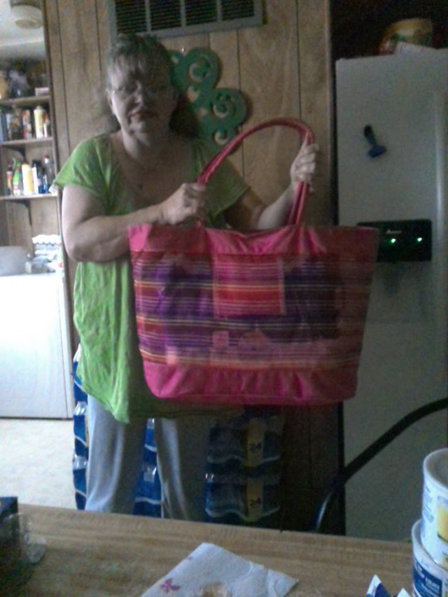Cathy won this large beach tote for $0.01 using only 1 voucher bid! #OneBidWin