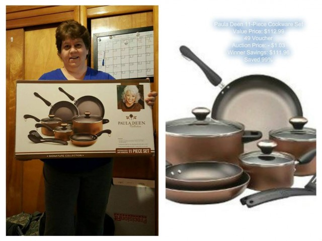 Jodi won this Paula Deen cookware set for $1.03 using 49 voucher bids! #QuiBidsWin
