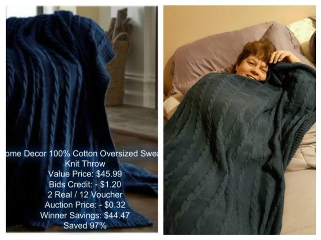 Jodi won this oversized throw blanket for $0.32 using 2 real bids ans 12 voucher bids! #QuiBidsWin