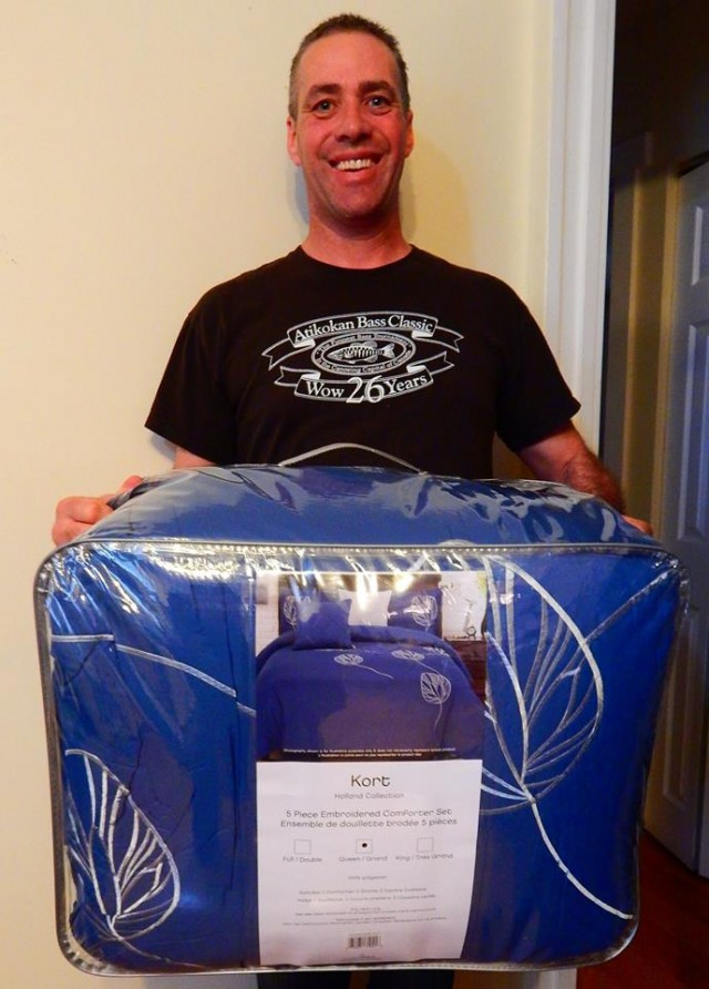 Doug won this embroidered comforter set for $0.29 using just 6 voucher bids! #QuiBidsWin
