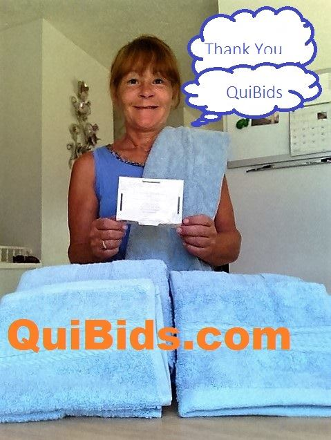 Janise won this 6pc luxury spa towel set for $0.19 using 8 voucher bids! #QuiBidsWin