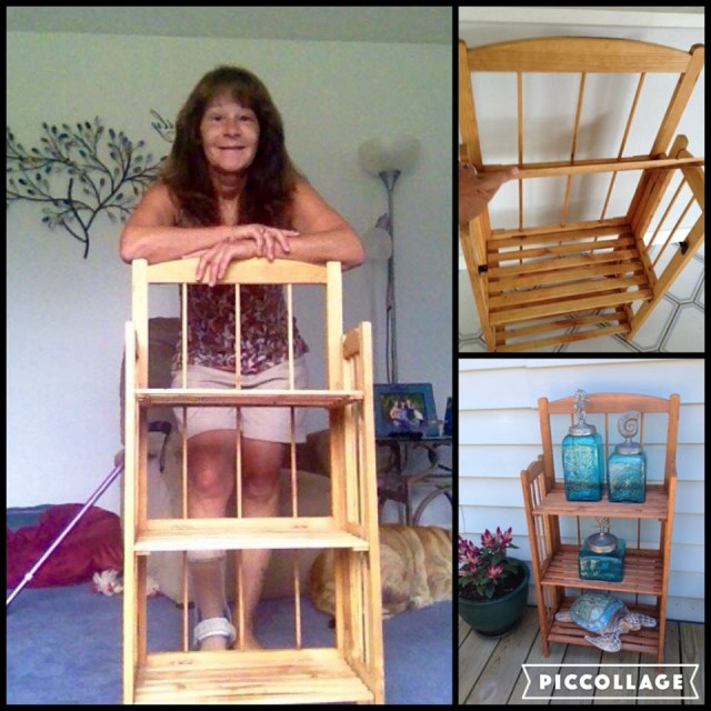 Janise won this three shelf wooden bookcase for $0.51 using only 21 voucher bids! #QuiBidsWin