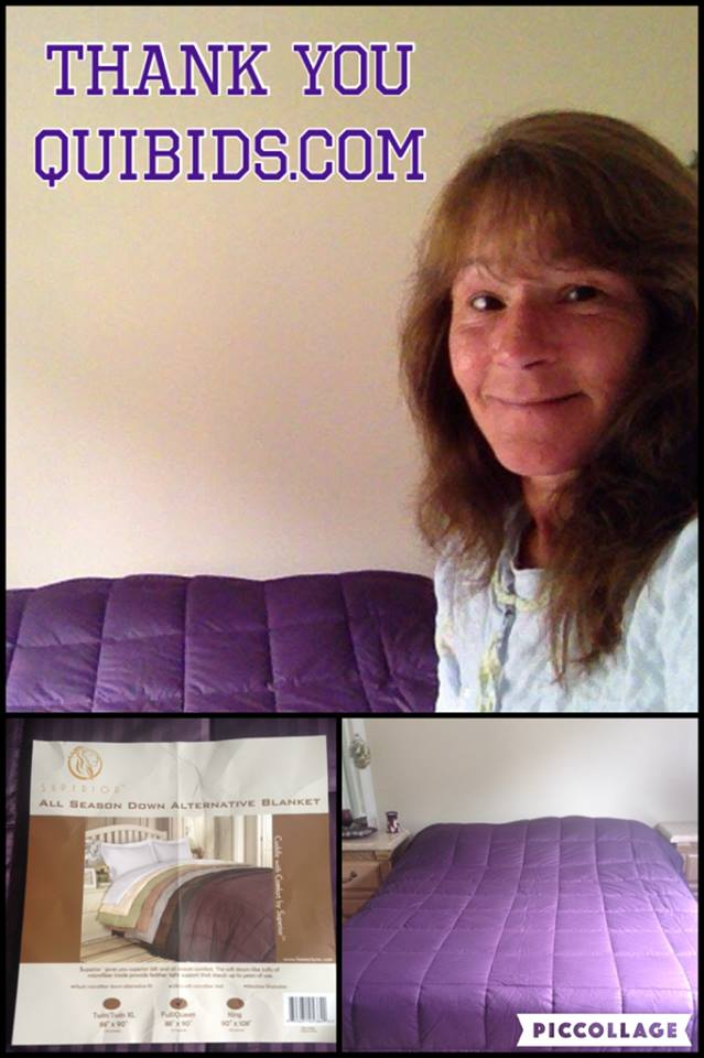 Janise won this down reversible blanket for $1.73 using only 66 voucher bids! #QuiBidswin
