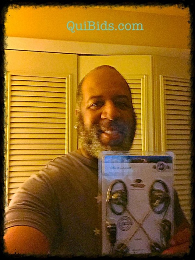 David won this two-way headset for $1.45 using 65 voucher bids and saved 96%! #QuiBidsWin
