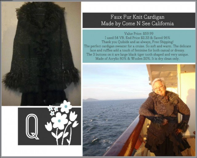Appy used 54 voucher bids to win this cardigan for only $2.33 and saved 96%! #QuiBidsWin