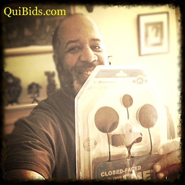 David won this motorcycle helmet set for $0.98 using 42 bids! #QuiBidsWin
