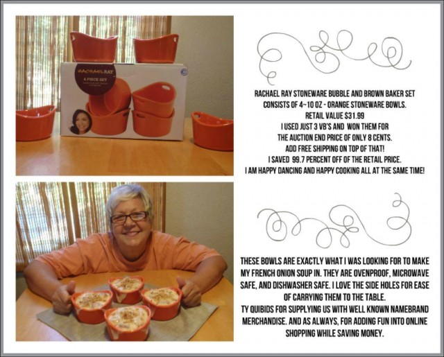 Appy won this Rachael Ray baker set for $0.08 using only 3 voucher bids! #QuiBidsWin