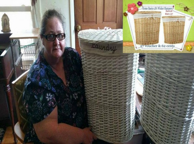 Phyllis used 27 voucher bids to win this 2pc wicker hamper set for only $0.62! #QuiBidsWin