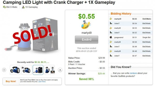 Martin used 11 voucher bids to win this camping LED light (+1X Gameplay) for only $0.55! #QuiBidsWin