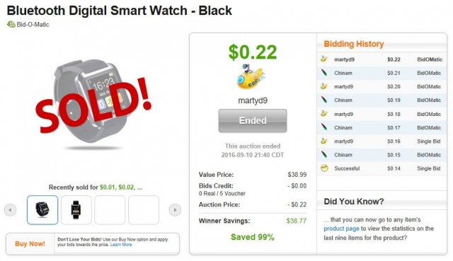 Martin used 5 voucher bids to win this smart watch for only $0.22! #QuiBidsWin