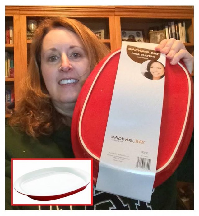 "Connie won this 14"" serving platter for $0.08 using just 3 voucher bids! #QuiBidsWin"