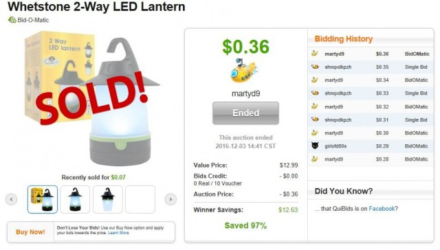 Martin used 10 voucher bids to win this LED lantern for $0.36!