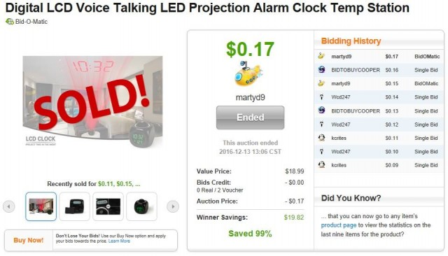Martin won a talking LED projection alarm clock for $0.17 using 2 voucher bids! #QuiBidsWin