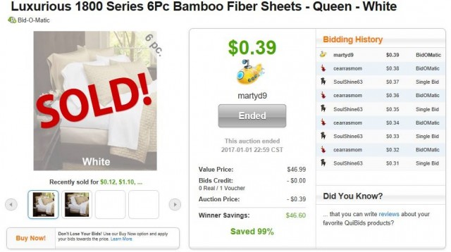 Martin used 1 voucher bid to win this 6pc bamboo sheet set for only $0.39! #QuiBidsWin