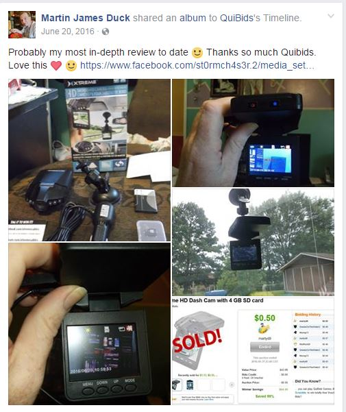 Martin used 20 voucher bids to win this dash camera for only $0.50! #QuiBidsWin