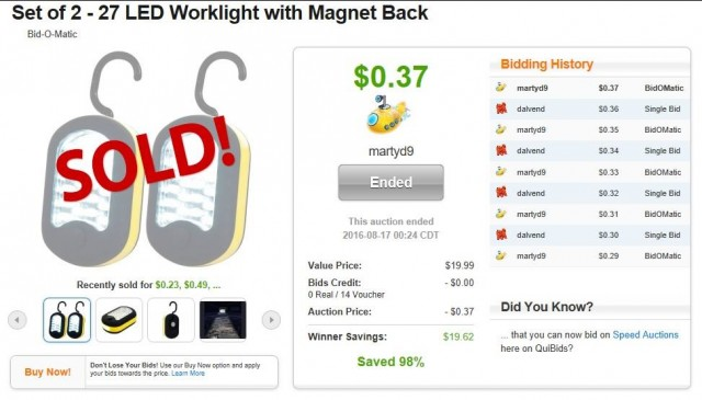 Martin used 14 voucher bids to win these LED magnet lights for only $0.37! #QuiBidsWin