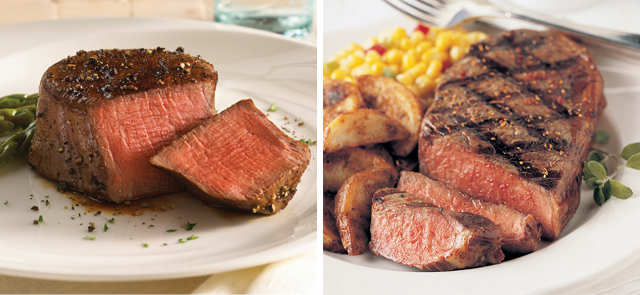 Carved from the center of our premium Prime Rib Roast, these magnificent Ribeye Steaks will amaze you. Omaha Steaks Ribeyes have just the right amount of marbling to give you a juicy, flavorful Ribeye steak that's second to none. You'll get just the right amount of tenderness combined with the mellow flavor of Prime Rib Beef.